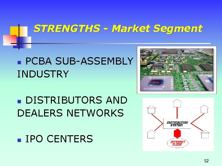 STRENGTHS - Market Segment PCBA SUB-ASSEMBLY INDUSTRY n DISTRIBUTORS AND DEALERS NETWORKS n n