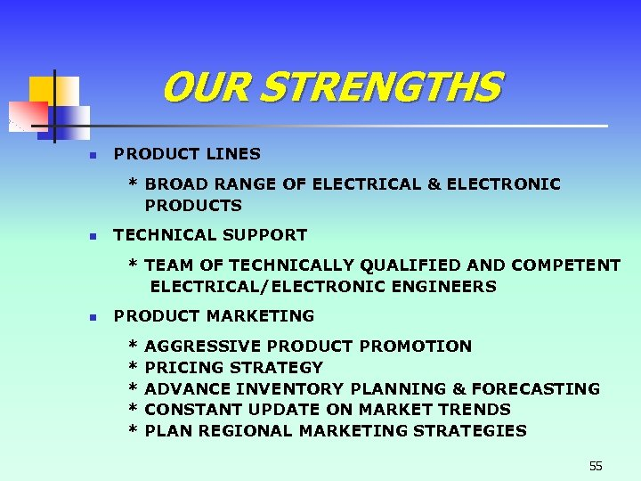 OUR STRENGTHS n PRODUCT LINES * BROAD RANGE OF ELECTRICAL & ELECTRONIC PRODUCTS n