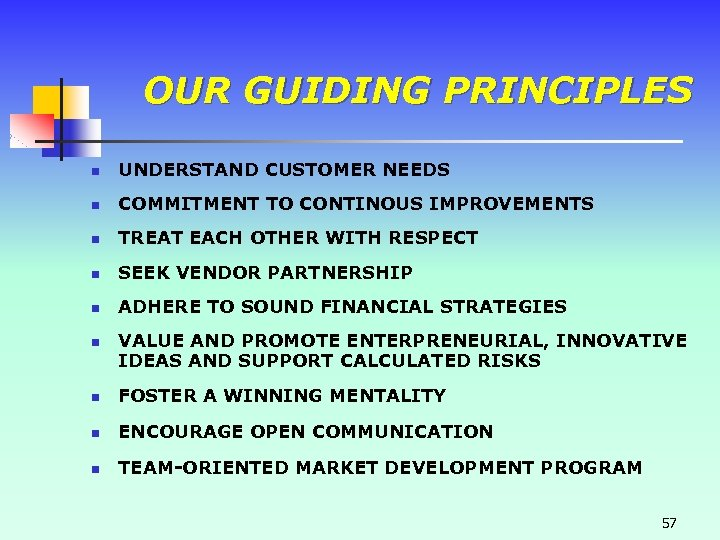 OUR GUIDING PRINCIPLES n UNDERSTAND CUSTOMER NEEDS n COMMITMENT TO CONTINOUS IMPROVEMENTS n TREAT
