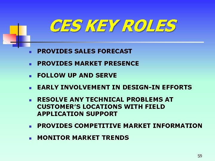 CES KEY ROLES n PROVIDES SALES FORECAST n PROVIDES MARKET PRESENCE n FOLLOW UP