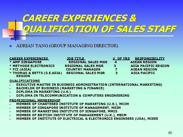 CAREER EXPERIENCES & QUALIFICATION OF SALES STAFF n ADRIAN TANG (GROUP MANAGING DIRECTOR) CAREER