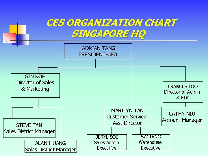 CES ORGANIZATION CHART SINGAPORE HQ ADRIAN TANG PRESIDENT/CEO GIN KOH Director of Sales &