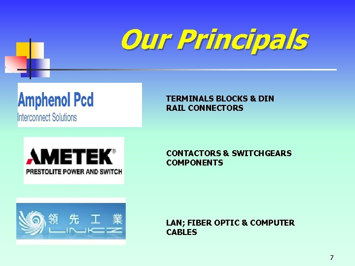 Our Principals TERMINALS BLOCKS & DIN RAIL CONNECTORS CONTACTORS & SWITCHGEARS COMPONENTS LAN; FIBER