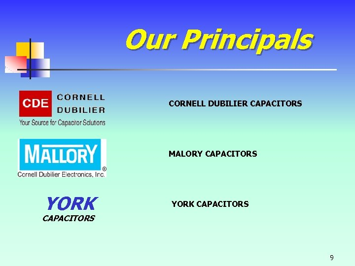Our Principals CORNELL DUBILIER CAPACITORS MALORY CAPACITORS YORK CAPACITORS 9