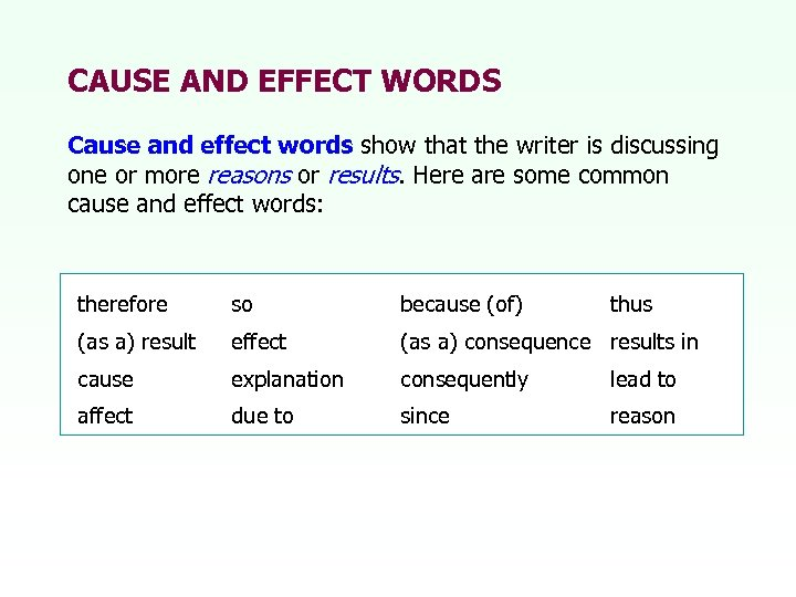 CAUSE AND EFFECT WORDS Cause and effect words show that the writer is discussing