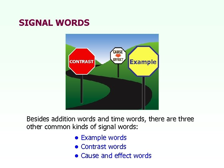 SIGNAL WORDS CONTRAST Example Besides addition words and time words, there are three other