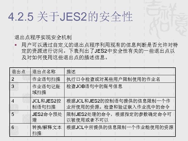 4. 2. 5 关于JES 2的安全性 退出点程序实现安全机制 § 用户可以通过自定义的退出点程序利用现有的信息判断是否允许对特 定的资源进行访问。下表列出了JES 2中安全性有关的一些退出点以 及对如何使用这些退出点的描述信息。 退出点名称 描述 2