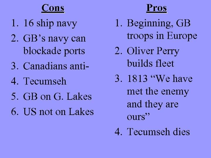 1. 2. 3. 4. 5. 6. Cons 16 ship navy GB's navy can blockade