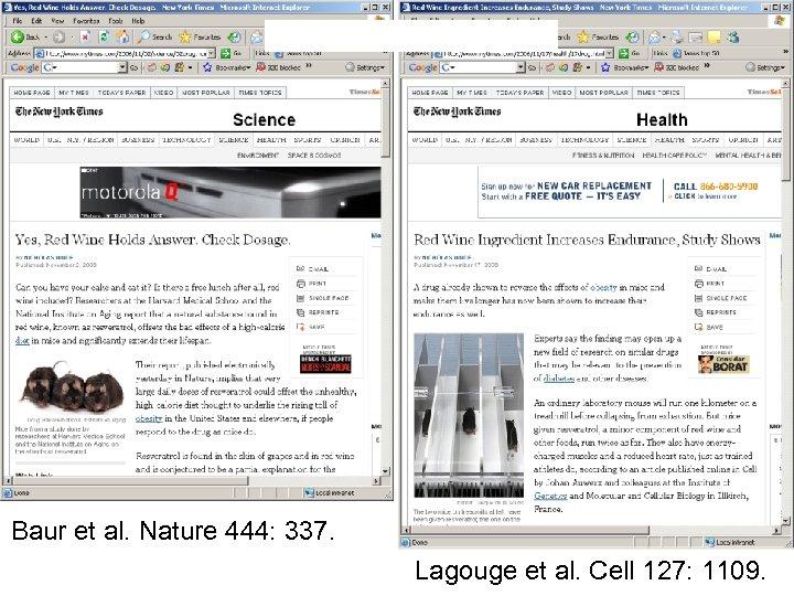 Baur et al. Nature 444: 337. Lagouge et al. Cell 127: 1109.