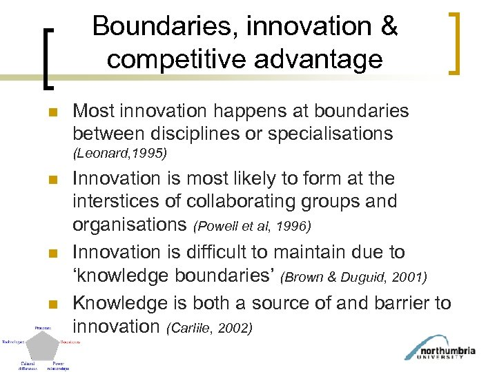 Boundaries, innovation & competitive advantage n Most innovation happens at boundaries between disciplines or