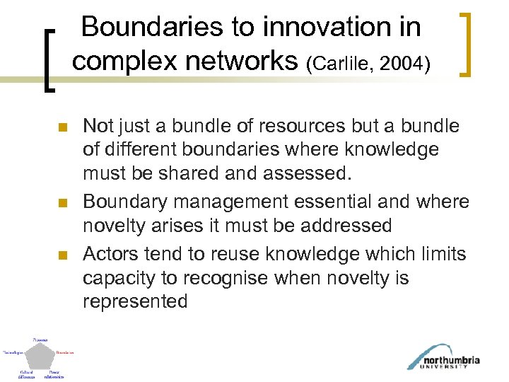 Boundaries to innovation in complex networks (Carlile, 2004) n n n Not just a