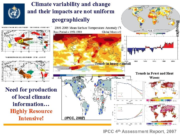 Droughts Climate variability and change and their impacts are not uniform geographically Trends in