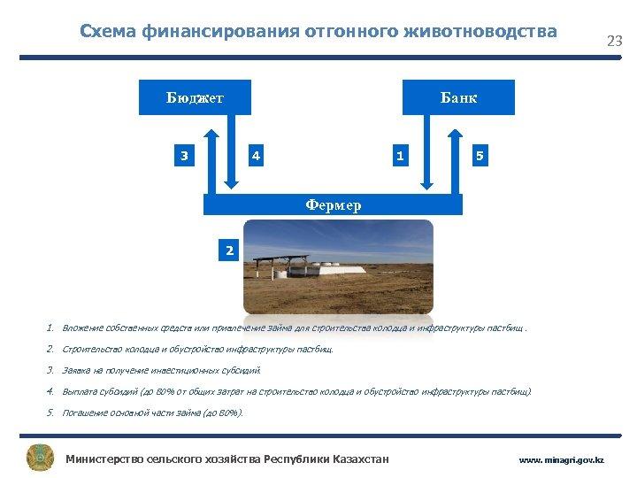 Схема финансирования отгонного животноводства Бюджет Банк 3 4 1 5 Фермер 2 1. Вложение