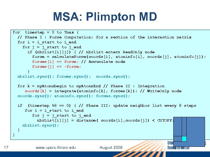 MSA: Plimpton MD for timestep = 0 to Tmax { // Phase I :