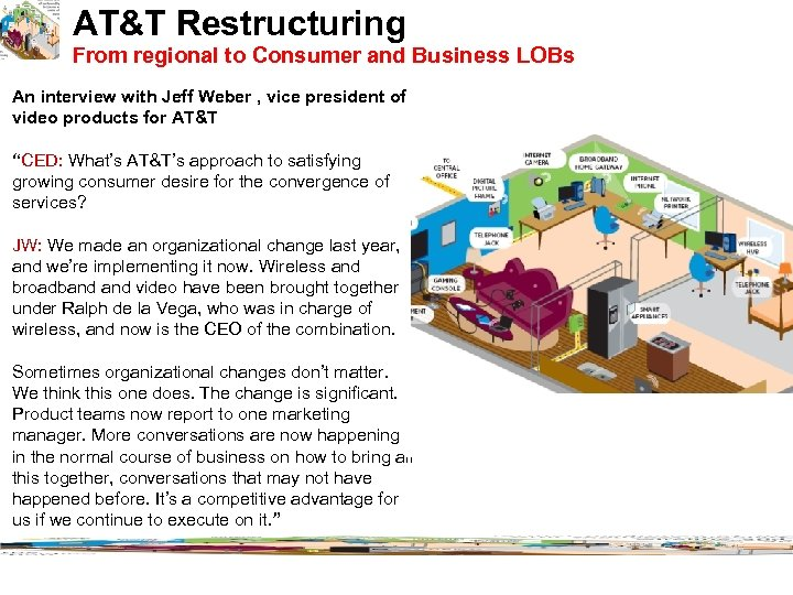 AT&T Restructuring From regional to Consumer and Business LOBs An interview with Jeff Weber
