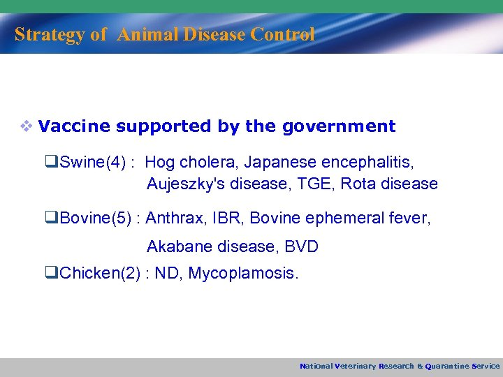 Strategy of Animal Disease Control v Vaccine supported by the government q. Swine(4) :