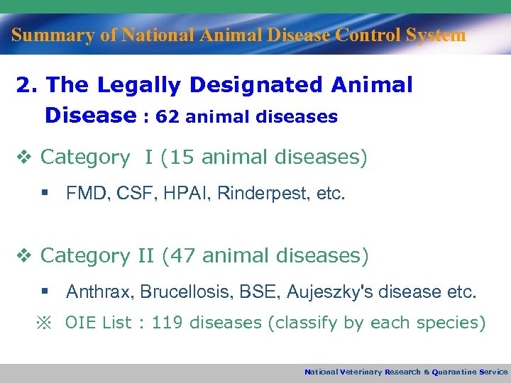 Summary of National Animal Disease Control System 2. The Legally Designated Animal Disease :