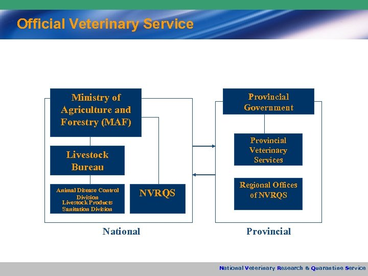 Official Veterinary Service Provincial Government Ministry of Agriculture and Forestry (MAF) Provincial Veterinary Services