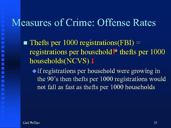 Measures of Crime: Offense Rates n Thefts per 1000 registrations(FBI) = registrations per household