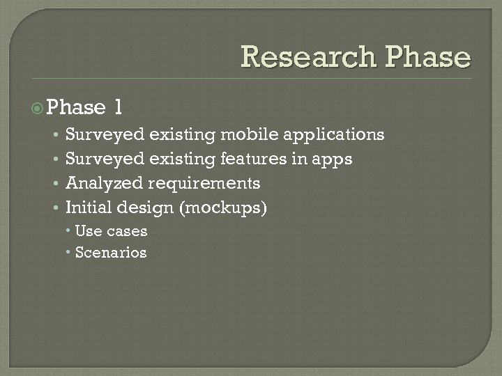 Research Phase • • 1 Surveyed existing mobile applications Surveyed existing features in apps
