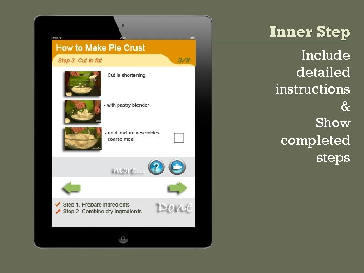 Inner Step Include detailed instructions & Show completed steps
