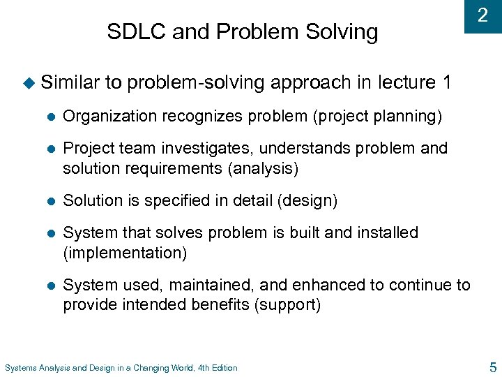 SDLC and Problem Solving u Similar 2 to problem-solving approach in lecture 1 l