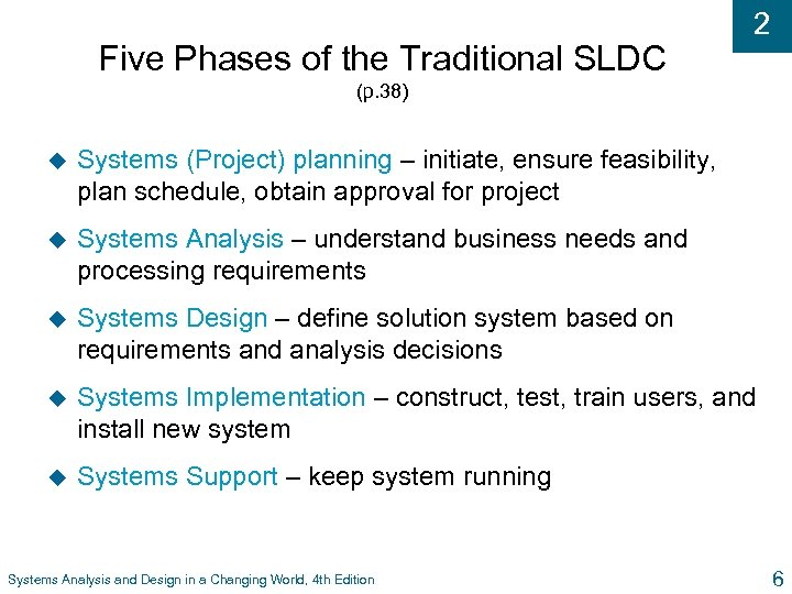Five Phases of the Traditional SLDC 2 (p. 38) u Systems (Project) planning –