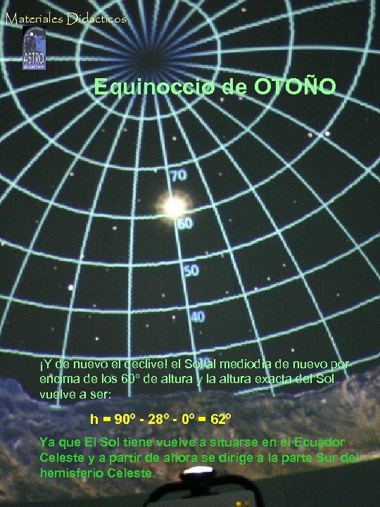 Materiales Didácticos Equinoccio de OTOÑO ¡Y de nuevo el declive! el Sol al mediodía