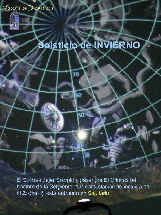 Materiales Didácticos Solsticio de INVIERNO El Sol al mediodía, por debajo de los 40º