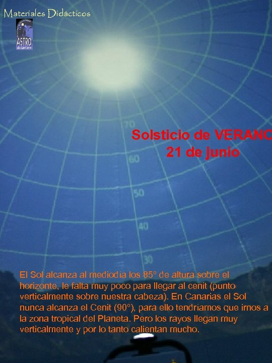 Materiales Didácticos Solsticio de VERANO 21 de junio El Sol alcanza al mediodía los