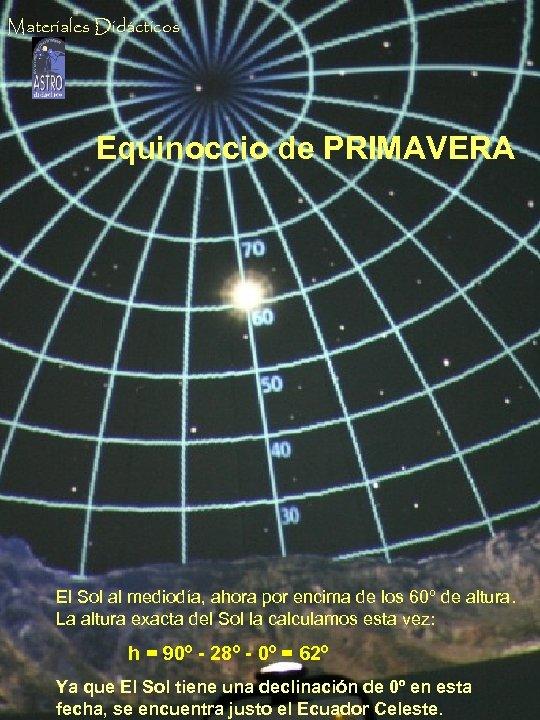 Materiales Didácticos Equinoccio de PRIMAVERA El Sol al mediodía, ahora por encima de los