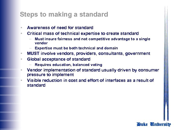 Steps to making a standard • • Awareness of need for standard Critical mass