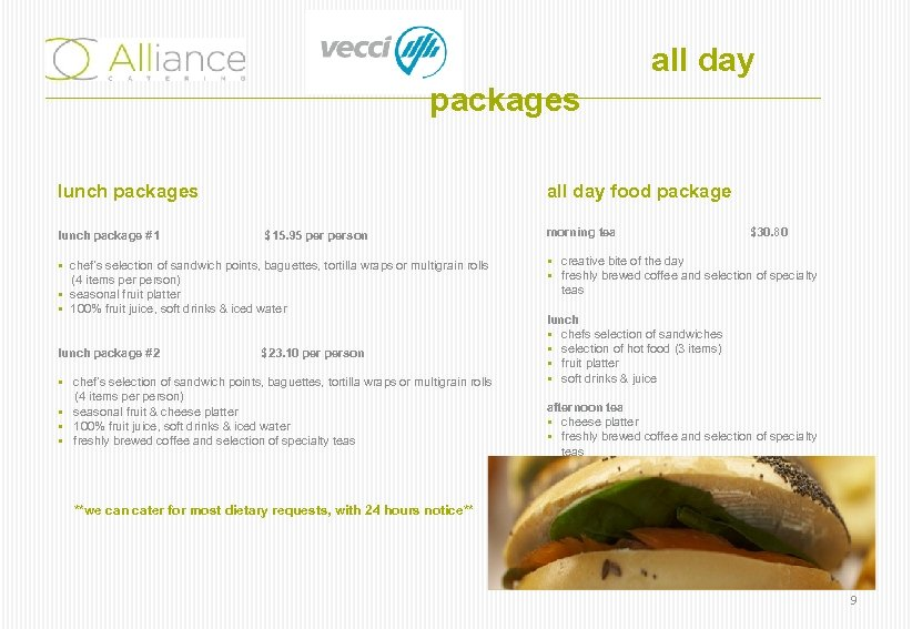 all day packages lunch package #1 all day food package $15. 95 person §