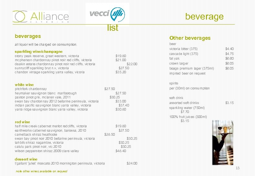 beverage list beverages Other beverages all liquor will be charged on consumption. sparkling wine/champagne