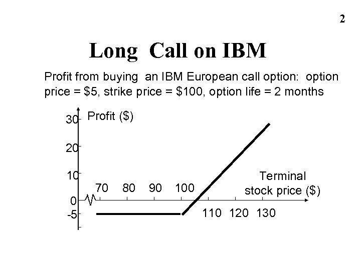 2 Long Call on IBM Profit from buying an IBM European call option: option