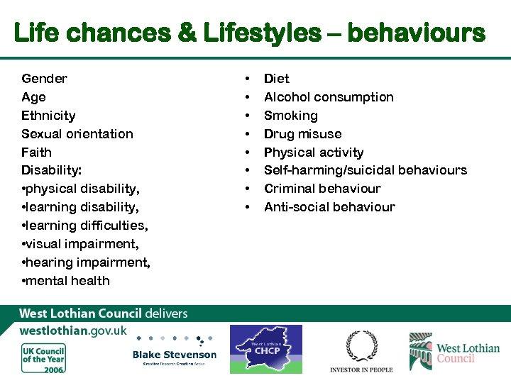 Life chances & Lifestyles – behaviours Gender Age Ethnicity Sexual orientation Faith Disability: •