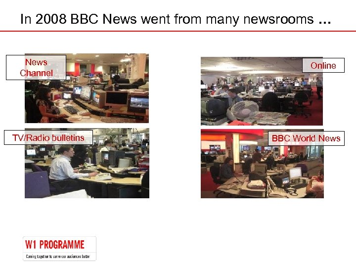 In 2008 BBC News went from many newsrooms … News Channel TV/Radio bulletins Online