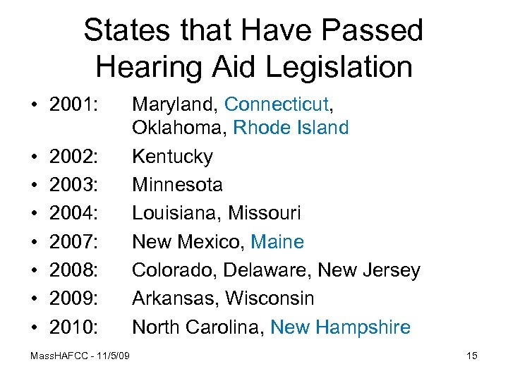 States that Have Passed Hearing Aid Legislation • 2001: • • 2002: 2003: 2004: