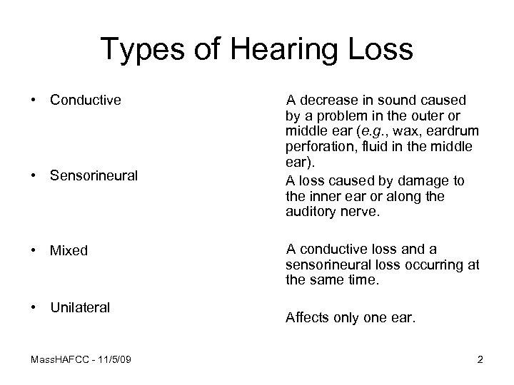 Types of Hearing Loss • Conductive • Sensorineural • Mixed • Unilateral Mass. HAFCC