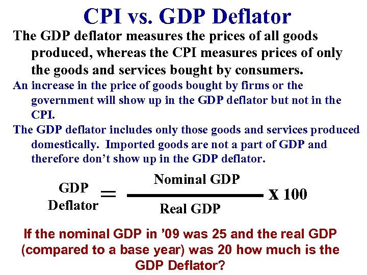 CPI vs. GDP Deflator The GDP deflator measures the prices of all goods produced,