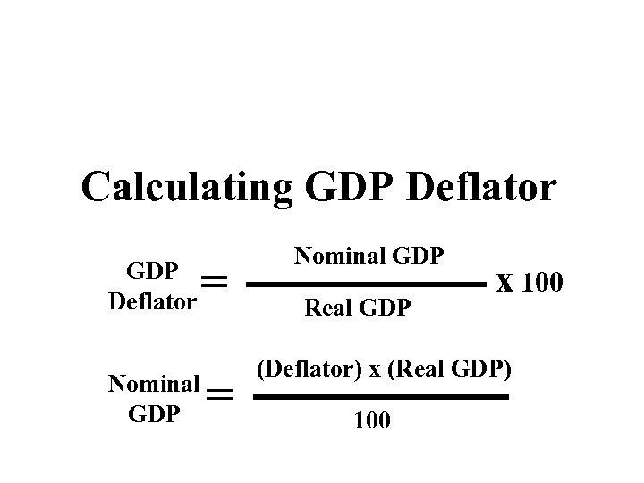 Calculating GDP Deflator Nominal GDP = = Nominal GDP Real GDP x 100 (Deflator)