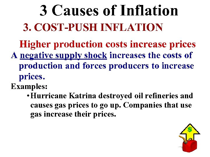 3 Causes of Inflation 3. COST-PUSH INFLATION Higher production costs increase prices A negative