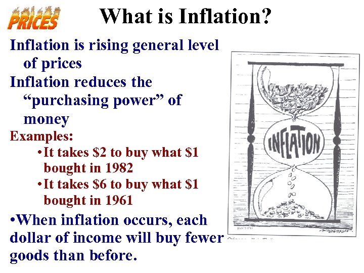 """What is Inflation? Inflation is rising general level of prices Inflation reduces the """"purchasing"""