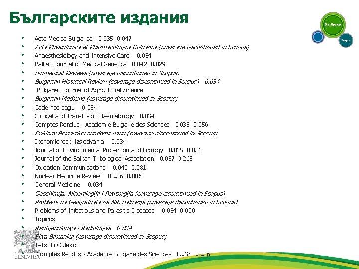 Българските издания • • • • • • • Acta Medica Bulgarica 0. 035
