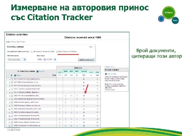Измерване на авторовия принос със Citation Tracker Брой документи, цитиращи този автор