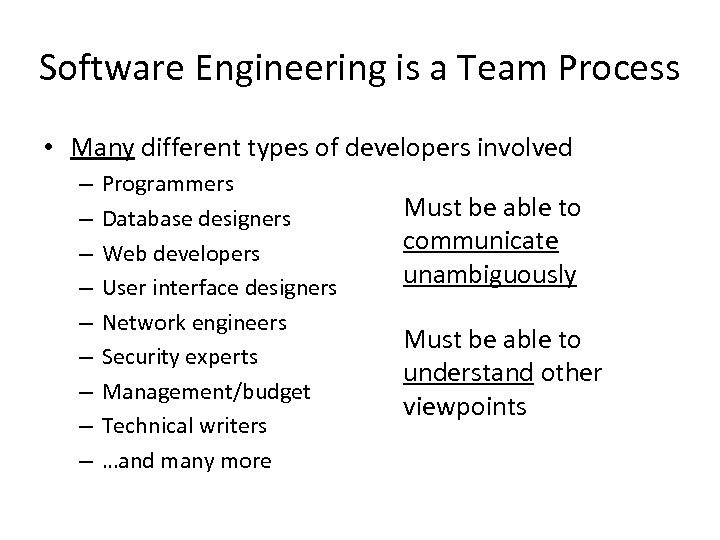 Software Engineering is a Team Process • Many different types of developers involved –