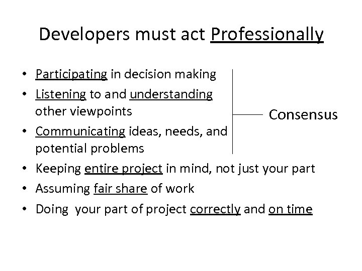 Developers must act Professionally • Participating in decision making • Listening to and understanding