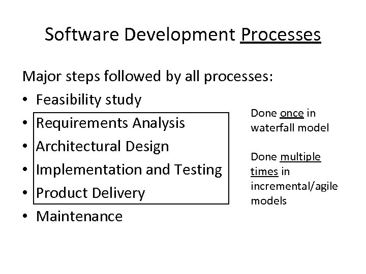 Software Development Processes Major steps followed by all processes: • Feasibility study Done once