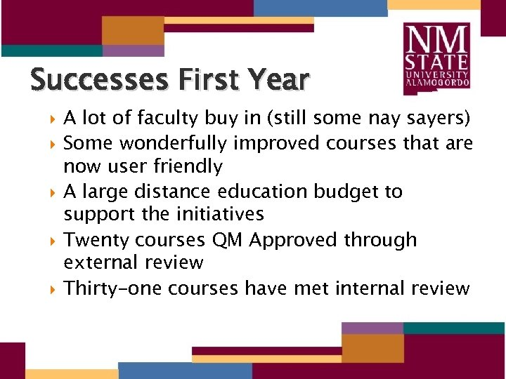 Successes First Year A lot of faculty buy in (still some nay sayers) Some