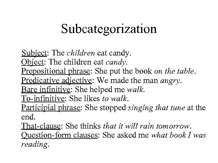 Subcategorization Subject: The children eat candy. Object: The children eat candy. Prepositional phrase: She